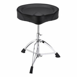 Adjustable-Folding-Round-Seat-Chair-Drum-Throne-Drummer-Stool-Stand-Large-Saddle