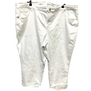 Style-amp-Co-Womens-Plus-Size-22W-Stretch-White-Mid-Rise-Capri-Cropped-Cuffed-NWT