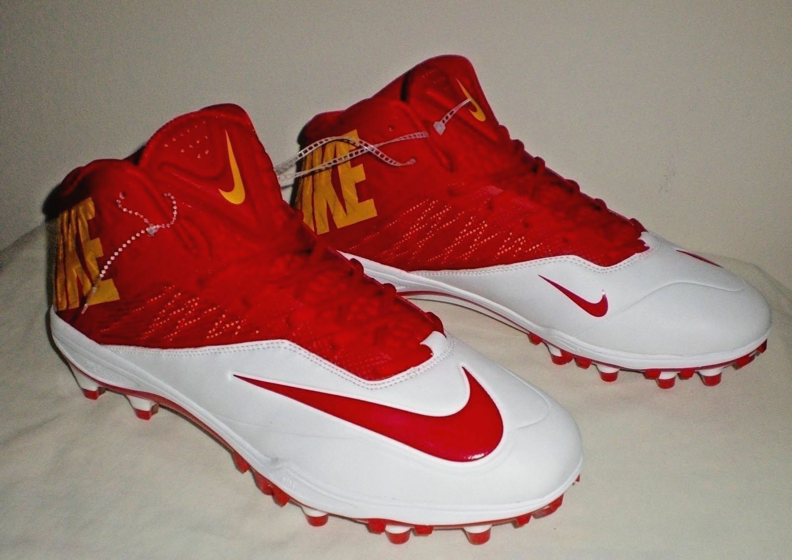 a028bdac9c2 NIKE Zoom Code Elite 3 4 Molded Football Cleats Mens RED WHITE YELLOW gold  Sz 13