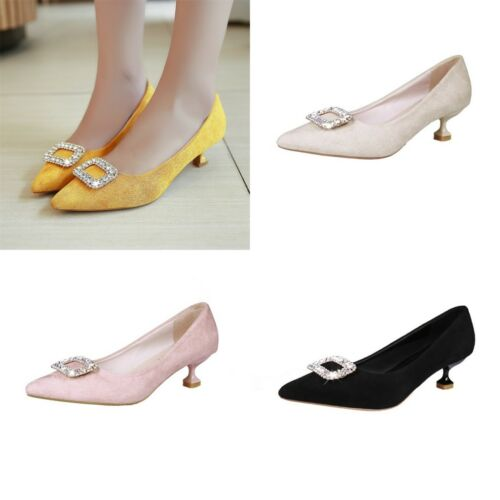 Women/'s Synthetic Suede Kitten Heels Rhinestone Pointed Toe Pumps Casual Shoes