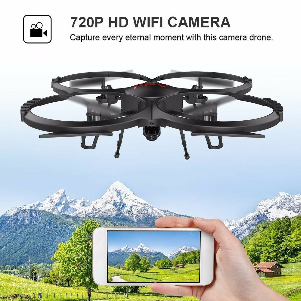 WIFI FPV Drone 720P HD Camera Quadcopter with Headless Mode 3D Flip
