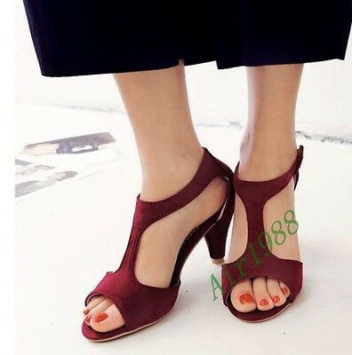 Womens T-Strap New Open Toe Chucky Heel Buckle Strap Faux Suede High Heel Shoes