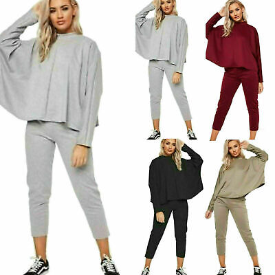 Womens Ladies Knitted Batwing Crop Top Bottom Lounge Wear Tracksuit Co ord Set