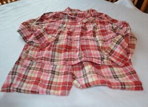 PAJAMAS-JUNIORS-SIZE-MEDIUM-plaid-red-white