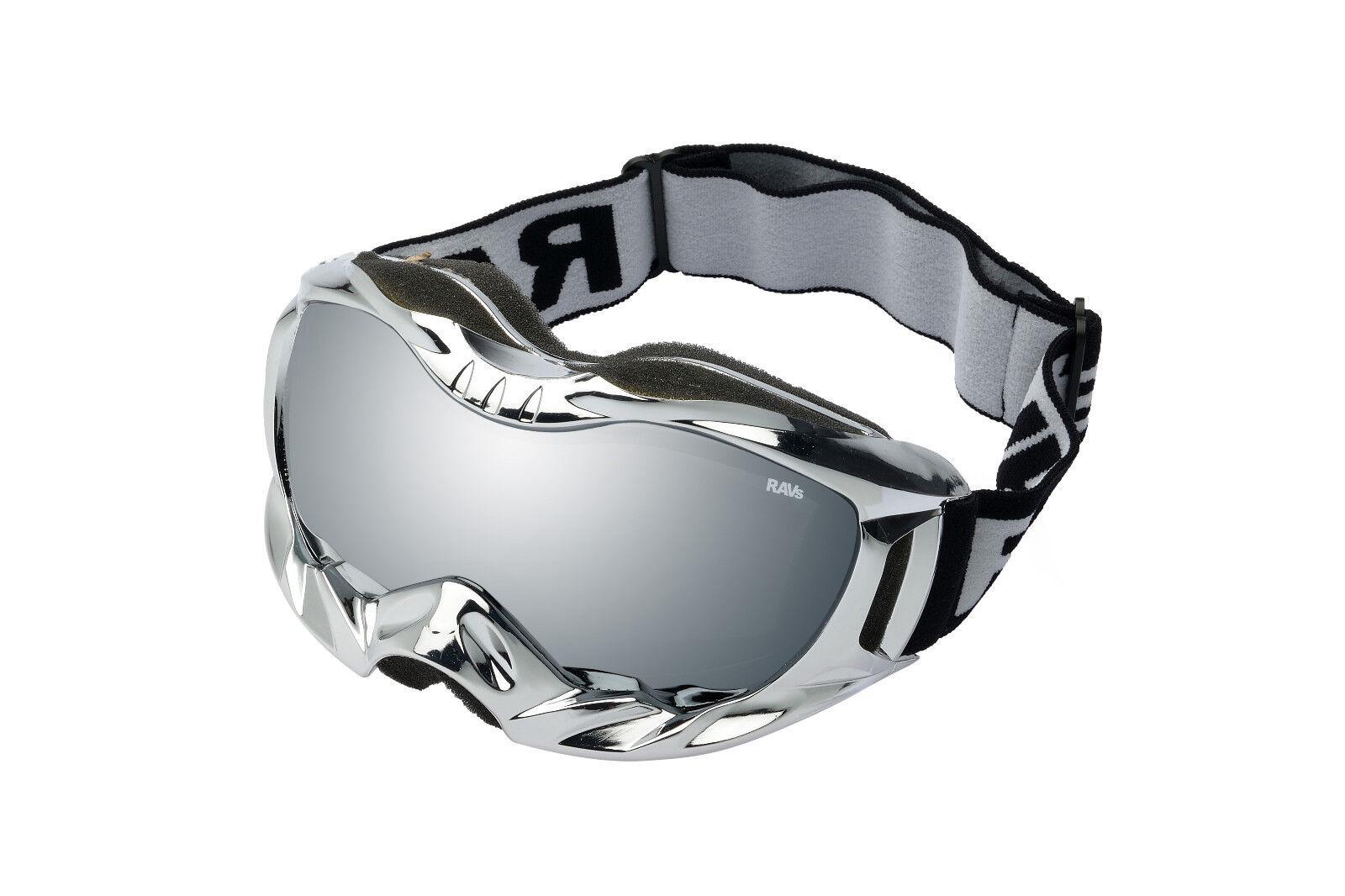 Ravs Skibrille Schutzbrille Snowboardbrille Helmkompatibel Gestellfarbe Chrom