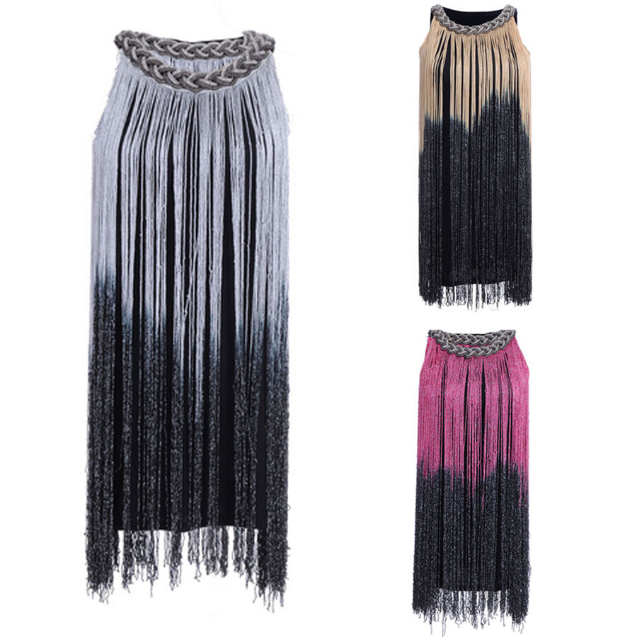 GREAT GATSBY OMBRE FRINGE BEADED 1920s FLAPPER CHARLESTON DRESS XS AUS 6