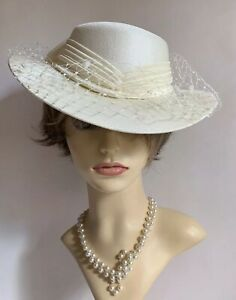 Vintage-1990s-Hand-Made-Ivory-Dress-Hat-Face-Veil-And-Net-amp-Satin-Ribbon-amp-Bow