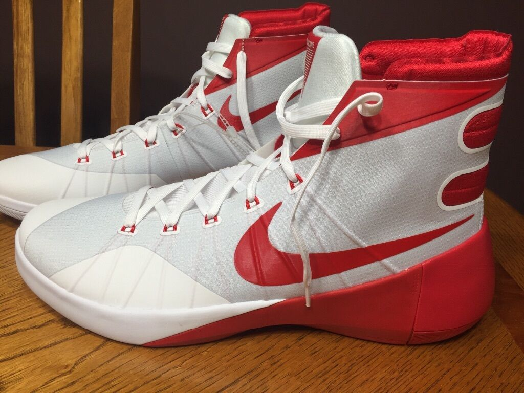New Nike Hyperdunk 2015 TB Mens size 17 Red and White sneakers 812944-162