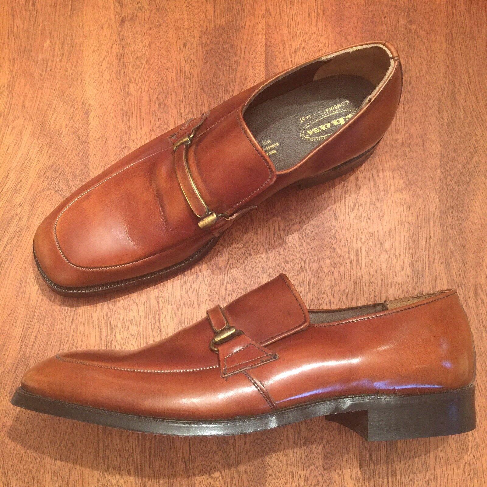 VTG SHAW Handmade Dress shoes Cognac Brown Leather Steel Shank Loafer Slip On 8