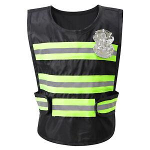 Unisex Kids High Visibility Reflective Safety Stripe Vest Hook Loop w/Badge 41cm