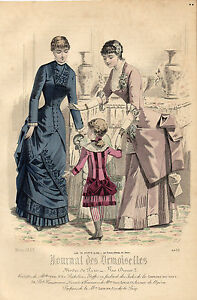 """120/ Gravure De Mode """" Journal Des Demoiselles """" 1883 Superbes Couleurs !"""