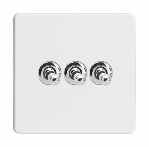 Varilight xdqt 3 S Screwless Premium Blanc 3 Gang 1 Ou 2 Way Toggle interrupteur de lumière