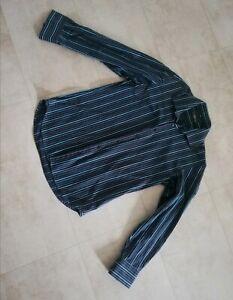 Jolie Chemise Rayée homme T 41 42 noire et turquoise