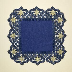 Deckchen Verena Plauener Spitze Blau Gold Tischdeko Sterne