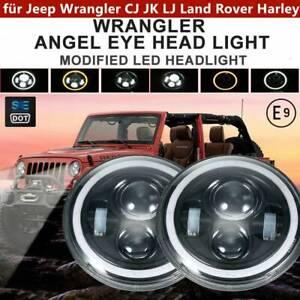 7-Zoll-Runde-LED-Scheinwerfer-Halo-Angle-Eyes-fuer-Harley-Jeep-Wrangler-CJ-JK-LJ