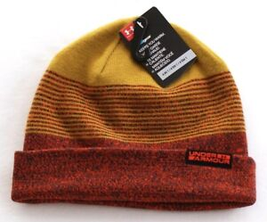 Under-Armour-Red-amp-Gold-4-in-1-Knit-Beanie-Skull-Cap-Men-039-s-One-Size-NWT