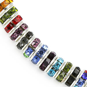 Rhinestone-Crystal-Rondelle-Spacer-Beads-Silver-Plated-for-Jewellery-Making-AAA