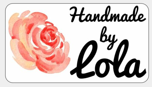 Personalised Stickers Handmade by Labels Various sizes ANY NAME Red Flower 5