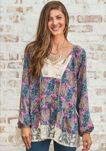 NWT Matilda Jane Make Believe Sew Perfect Top Blouse Größe L Large Tunic Shirt