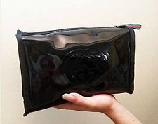 Authentic Gucci Guilty Black Vinyl Cosmetic Make-Up Pouch Purse Clutch Bag