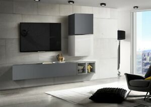 Dettagli su Parete soggiorno laccato grigio, cubi grigio e bianco
