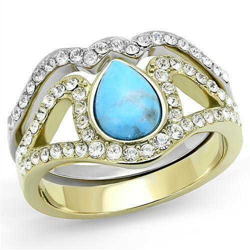1.25ct Brilliant Synthetic Turquoise Stone Two-Tone IP Gold Pear Cut Ring TK3124