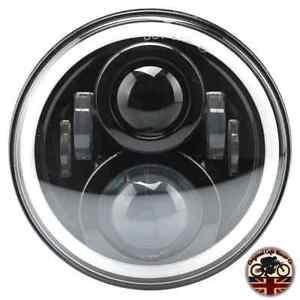 Moto-Cafe-Racer-CREE-LED-Faros-Negro-7-034-50W-E-Marcados-DRL-amp-Halo-750AB