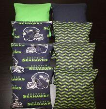 CORNHOLE BEAN BAGS made w Seattle SEAHAWKS Fabric 8 ACA Reg Toss Game Bags