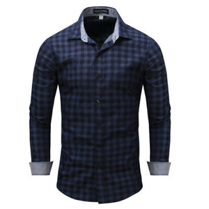 New-Luxury-Check-Cotton-Men-039-s-Navy-blue-Casual-Long-Sleeve-Dress-Shirts-XT408