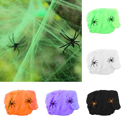 60G Halloween Spider Web with Black Spiders Stretchable Cobweb Party Decoration