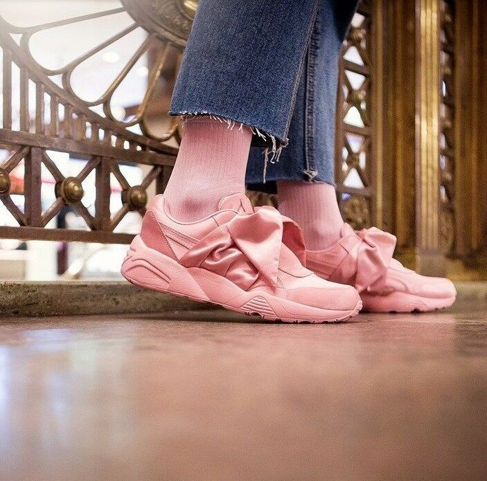 NUOVO Puma fenty Argento Bow Sneaker-Donne Scarpe Argento fenty Rosa Tutte le Taglie 667b51
