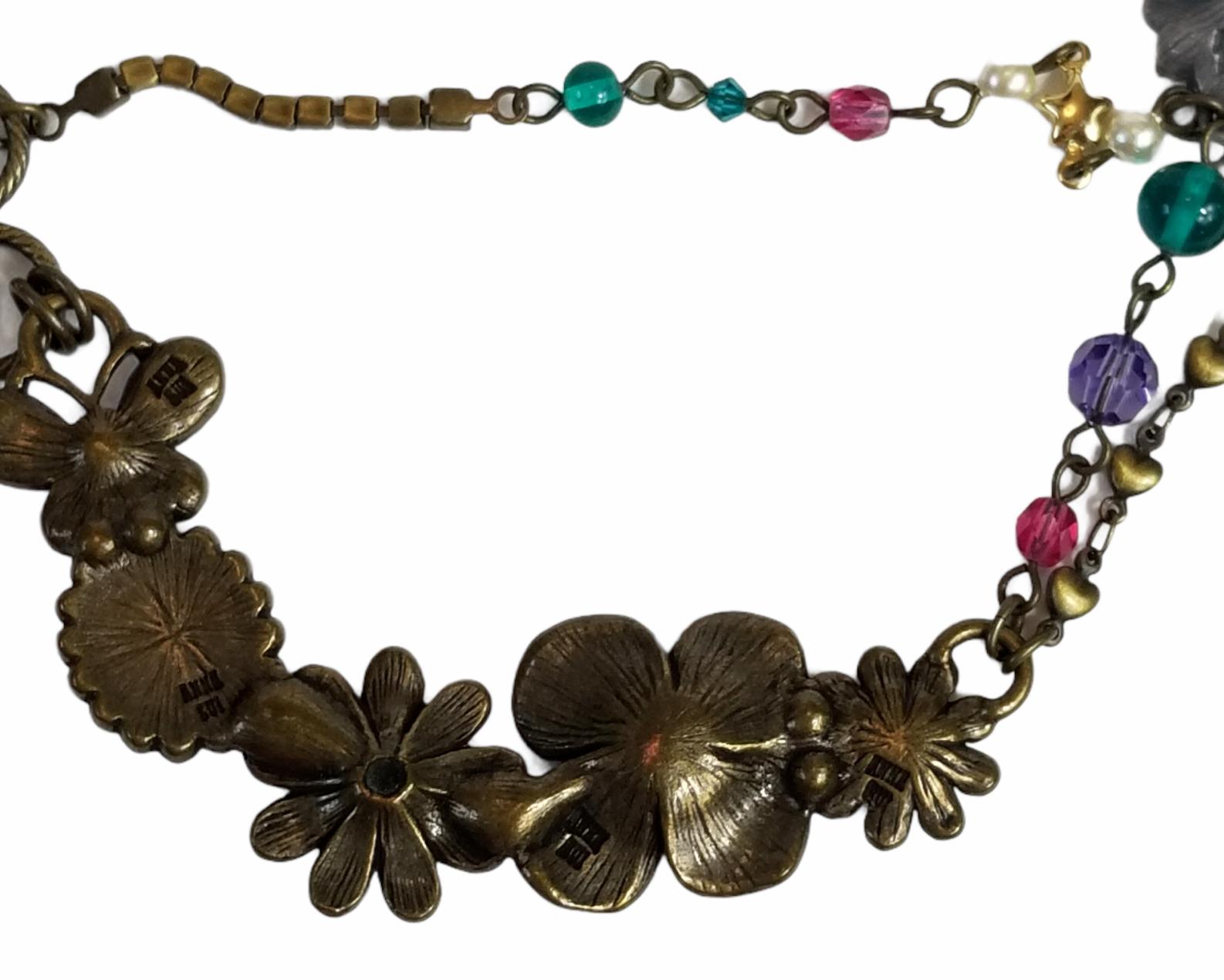 Vintage Anna Sui Flower Crystal Rhinestone Caboch… - image 8