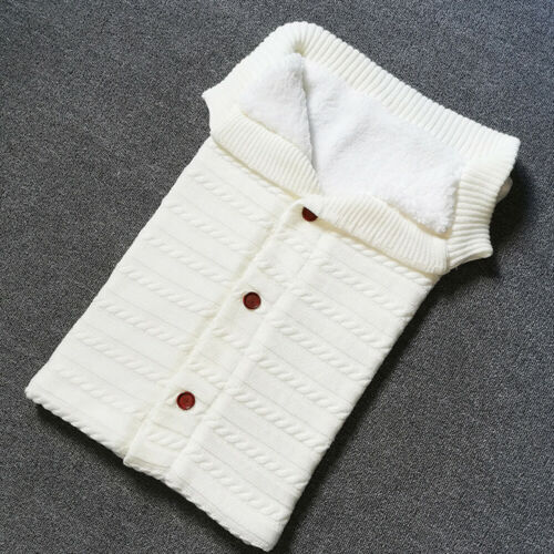 Baby Infant Button Blanket Knitted Crochet Warm Swaddle Wrap Comfy Sleeping Bags