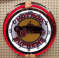18 Classic Hot Rod Supreme Street Rod Sign Double Neon Clock
