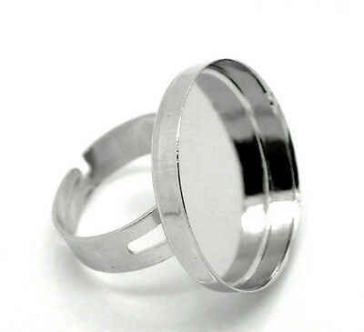"10 Hot Silver Tone Adjustable Ring Base Blank Size 8 Fit 25mm(1"")dia."