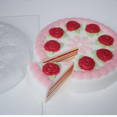 """/""""Pastel con Rosas 1/"""" plástico Jabón Molde Molde de fabricación de jabón"""