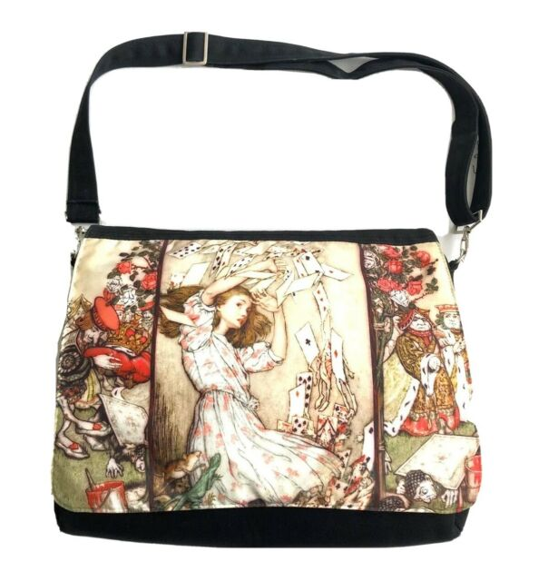 Alice In Wonderland graphic print baba studio satchel shoulder messenger bag