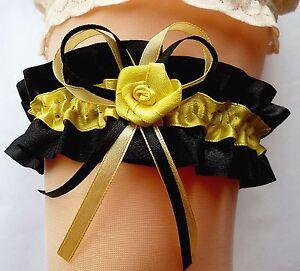 Wunderschoener-Braut-Strumpfband-XXL-bis-80-cm-schwarz-gelb-mit-Rose-aus-Satin
