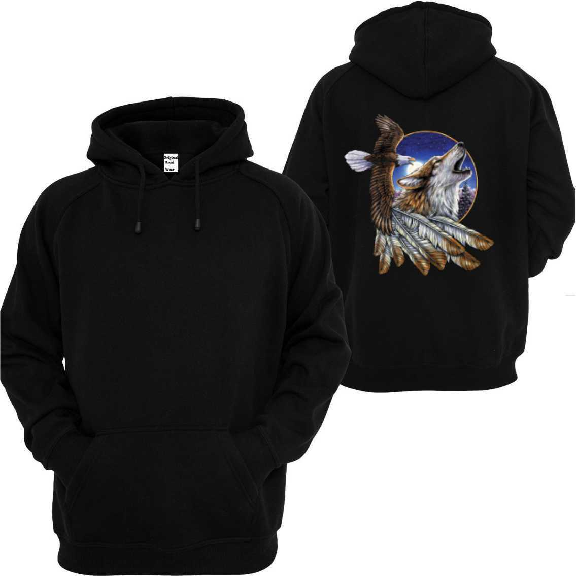 Kapuzensweatshirt black Tier Natur Wildnismotiv Modell Eagle Wolf Feather