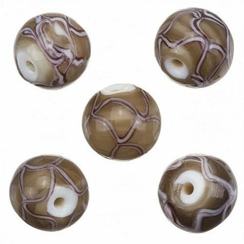 A89//1 Handmade Wavy Patterned Brown Round Glass Beads 15mm Pack of 5