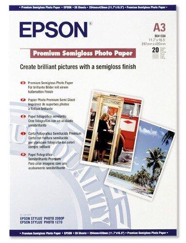 1 Paquete de 20 Hojas Epson Premium A3 Blanco 251g//m2 Semi-Brillante Papel Fotográfico