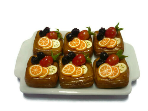 9 6 Tart Pie Summer Fruit Top on Ceramic Tray Dollhouse Miniatures Food Deco