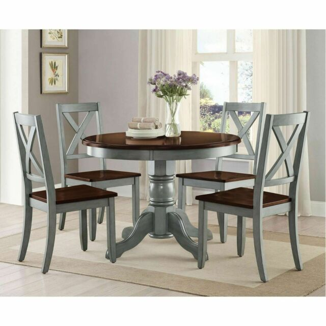Farmhouse Dining Table Set Rustic Round Dining Room Kitchen Tables And Chairs For Sale Online Ebay