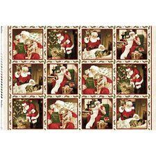 Santa Claus Padre vacaciones de Navidad 100% Algodón, Colchas de retazos de tela 12 Paneles