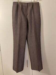 Lafayette 148  New York Pants Size 8 Linen Wool Gray Brown Wide Leg Dress Pant