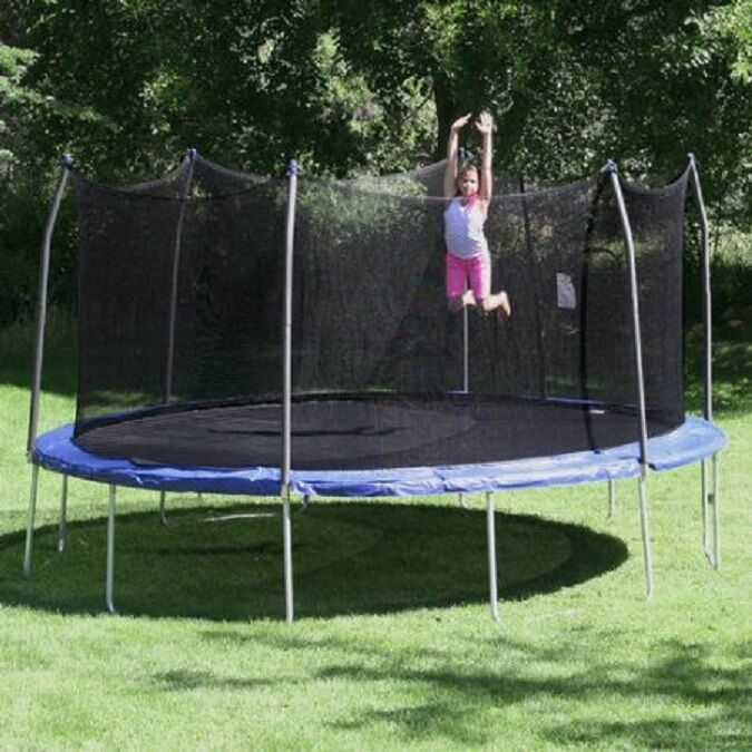 16' Oval Trampoline Enclosure bluee 16 Gauge Steel Frame 200 LB Capacity UV Coat
