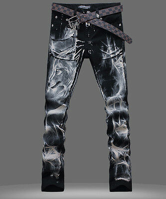 HOt Mens Punk wolf printed Denim Casual Classic Straight Jeans Chic Pant trouser