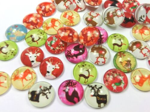 50 x Glas Cabochons 12mm Motiv Rentier Mix Glascabochons Weihnachten #79