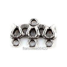 5 Connecteurs entre-deux Chandelier 3 rangs 18x10mm Perles apprêts bijoux _ A238