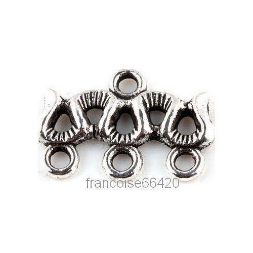5 Connecteurs entre-deux Chandelier 3 rangs 18x10mm Perles apprêts bijoux /_ A238